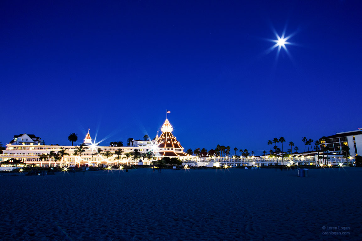 Ocean, holiday, Hotel Del, Coronado, moon, December, photo